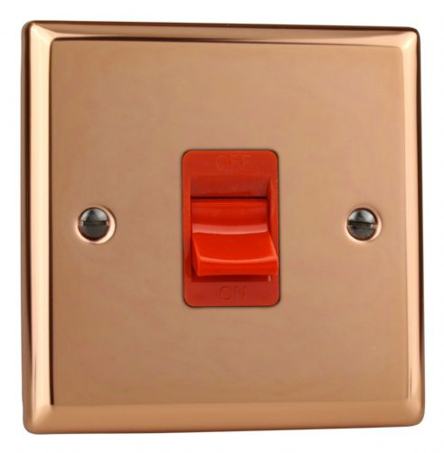 Varilight XY45S.CU Urban Polished Copper 45A DP Cooker Switch Single Plate